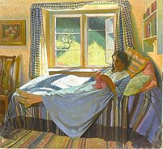 Knit like Evelyne, the artist Gerard Gardiner´s wife in 1934 on a daybed. — Products shown: Dutch Knits, 1635-1969 by Constance Willems at www.knitdesign.com