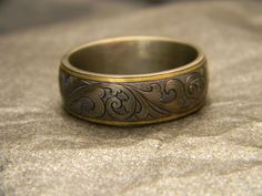 8mm Titanium Engraved Ring with 24K Gold Rims with JHook Engraving- Please call for current pricing 817-386-5412