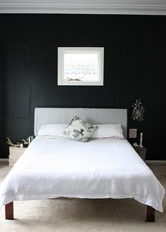 Black bedroom wall. Would Alec cope? Joel's moving into Isaac's smaller room. Wanted to make it special by doing a feature he has been wanting...de black wall. He is ahead of the times as it's a pretty hot trend the mo, and he wanted it atleast 3yrs ago.
