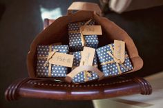 #Blue and #white #polka dot gift boxes. Great for favors or wedding party gifts.