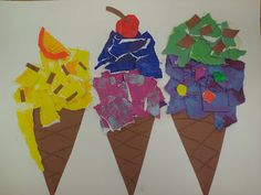 using torn paper to make icecream cones