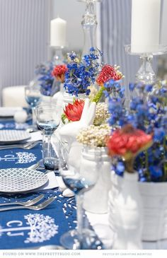 Coral, blue and white table setting