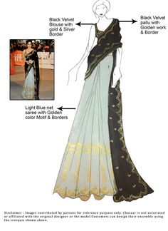 DIY Velvet N Blue SRIDEVI Saree