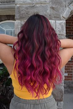Get the details for the lovely faded and grown out two tone hair to a lovely magenta color melt. Magenta Hair Colors, Hair Dye Colors, Vivid Hair Color, Fire Hair Color, Cool Hair Color, Dark Pink Hair, Burgundy Hair, Dyed Curly Hair, Dye My Hair