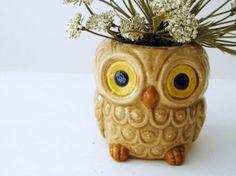 Vintage Ceramic Owl PlanterVasePencil Cup by HappySageVintage, $9.99