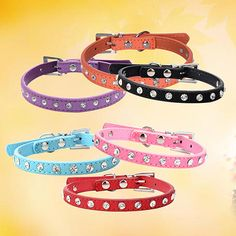 Clear Rhinestone Adjustable Faux Cow Suede Small Dog Puppy Cat Buckle Collar