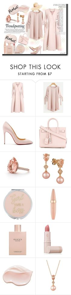 """""""ROMWE in Rose Gold"""" by emperormpf ❤ liked on Polyvore featuring Temperley London, Christian Louboutin, Yves Saint Laurent, LE VIAN, Maybelline, Gucci, Lipstick Queen, By Terry and Maison Michel"""