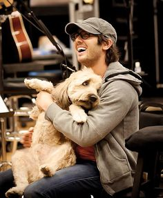 Josh Groban with his dog...my heart is melting.
