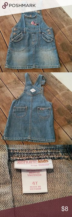 Genuine Kids OshKosh Overall Dress 100% Cotton Denim Dress. Looks so adorable with a pair of fun bright colored tights and and solid bright shirt.   Gently used. In like new condition. Oshkosh  Dresses Casual