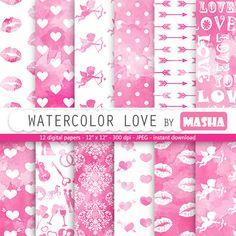 Love digital paper: WATERCOLOR LOVE pink watercolor by MashaStudio