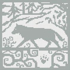 Ravelry: Spirit Wolf Version 2 Square Chart pattern by Melanie Nordberg