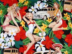 Alexander Henry - Pin Up Girls Retro Aloha  Deze moet ik hebben!!!!!