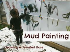 April Play in the Mud- Website shows a lot of different ways to play in the mud. This example is with mud painting. This is done outside with the paper being hung on a fence or wall. Educational Activities For Kids, Sensory Activities, Sensory Play, Sensory Diet, Sensory Table, Indoor Activities For Kids, Family Activities, Toddler Activities, Outdoor Activities
