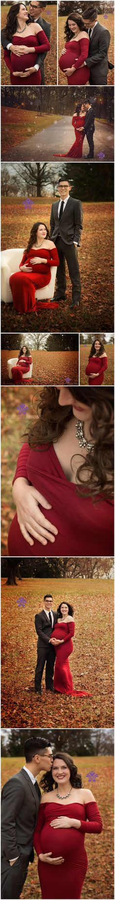 Maternity shoot by Y.E.C. Creations  Red maternity gown. Outdoor winter maternity shoot