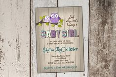 SALE - Owl Baby Shower Invitations - Girl - Purple and Teal - wood