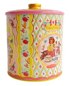Cotton Candy Cookie Tin from Wu & Wu. This beautiful cookie tin is covered in illustrations by talented artist Fiona Hewitt! A perfect kitsch kitchen accessory, with matching tea, coffee and sugar tins available! Tin measures approximately 19cm high x 16cm in diameter