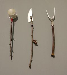 Utensil Set by Stuart Cairns. Part of our annual show 'Made' 2013 Materials; found materials combined with elements fabricated from sterling silver. Ceramic Spoons, Utensil Set, Cairns, Art Object, Wabi Sabi, Metal Art, Candle Sconces, Sculpture Art, Metal Working