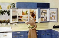 I have no idea why this style of refrigerator didn't catch on! I love (and want!) it. #vintage #1950s #kitchen #home #decor #fridge #refrigerator #homemaker #housewife