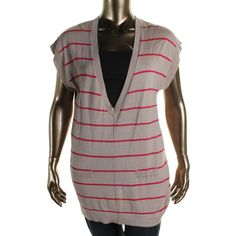 August Silk Womens Knit Striped Tunic Sweater