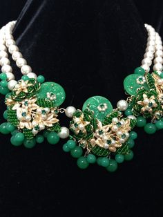 Pearls and Jade necklace Jade Necklace, Turquoise Necklace, Miriam Haskell, Timeless Design, Bling, Pearls, Inspiration, Jewelry, Accessories