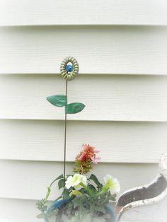 garden stake handpainted valve handle flower with antique ceiling tin leaves pot stake stick garden decor yard art