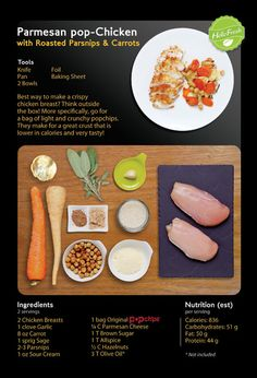 parmesan pop-chicken with roasted parsnips and carrots. #popchips #recipe