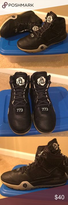 e6e63e2aec04 Men Adidas Bounce Derrick Rose 773 Basketball Shoe Mens Adidas Bounce Derrick  Rose 773 Basketball Shoe  Black Gray Leather Upper  Black White  shoestrings  ...