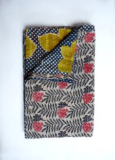Black Kantha Throw Blanket // Kantha Quilt // Twin Quilt