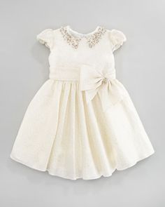 Jeweled Collar Dress, Ivory/Gold, Sizes 2Y-10Y by David Charles at Neiman Marcus.