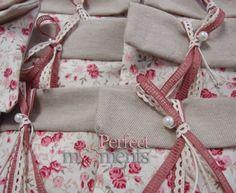 Πουγκί φάκελος υφασμάτινος floral με πέρλα