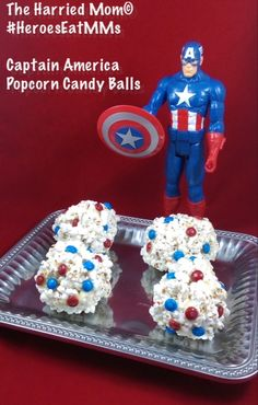 Did you know Captain America has an M&M sweet tooth because #HeroesEatMMs. See how I combined salty and sweet with my Captain America Popcorn Candy Balls using blue & red M&Ms #CollectiveBias #shop