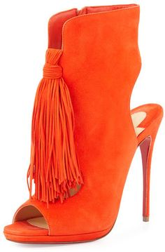 Christian Louboutin Ottaka Suede Fringe Open-Toe Red Sole Bootie, Cappucine #ads