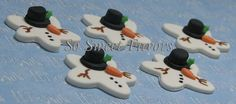 Fondant edible cupcake toppers - Christmas melted snowman. $10.95, via Etsy.