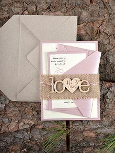 Custom listing (20) Rustic Wedding Invitation, Wood Invitation, Burlap Wedding Invitations, Pink Wedding Invitation,  4lovepolkadots