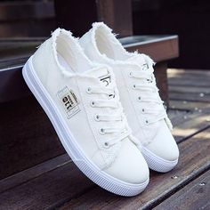 Women Shoes 2018 Fashion Sneakers Women Casual Shoes Solid Color Flat Canvas Sewing Lace up Women Vulcanize Shoes tenis feminino Denim Sneakers, Sneakers Mode, Denim Shoes, Girls Sneakers, Casual Sneakers, Girls Shoes, Girls White Shoes, Cute Sneakers For Women, Shoes Sneakers