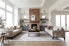 Brick Fireplace Makeover, Fireplace Built Ins, White Fireplace, Fireplace Remodel, Living Room With Fireplace, Fireplace Design, Home Living Room, Living Room Decor, Living Spaces