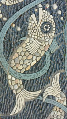 Fish pebble art - could use sea glass and shell fragments in pavers