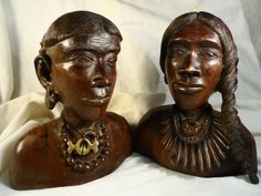 Ironwood Carving-Carved Wood Bust-Wood heads of people from the Amazon-Couple Amazonian Indian Busts by BCScollectibles on Etsy