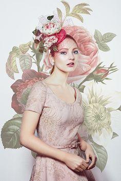 Lipstick pink taffeta pillbox hat with toned handmade flowers and veiling (R1672) Rachel Trevor Morgan Spring Summer 2016