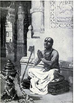 Ramanuja contemplating his philosophy of the one personal god, A.D. 1100 - Ramanuja - Ramanuja (traditionally, 1017–1137 CE) was a Hindu theologian, philosopher, and scriptural exegete, born in a Tamil Brahmin family in the village of Sriperumbudur, Tamil Nadu. He is also known as Sri Ramanujacharya, Udayavar, Ethirajar (Yatiraja), Emberumannar and Lakshmana Muni.