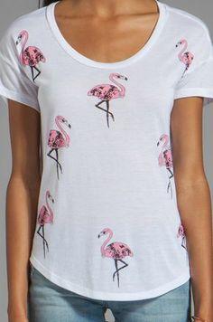 Lauren Moshi Audrey Mini Flamingo Tee in White | REVOLVE