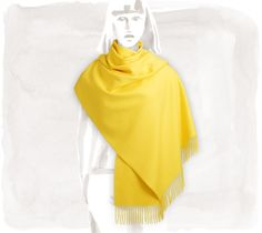 Broderie Hermès  100% Cashmere stole with embroidery, lemon-yellow, 28'' x 69''