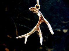 Bronze 3D Whitetail Deer Antler Pendant Necklace - Moon Raven Designs. $45.00, via Etsy.