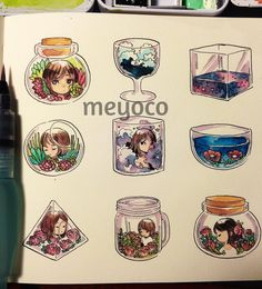 Tiny plants and tiny glass containers (and extra big watermark) by meyoco