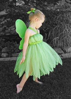 Einfaches Tinkerbell Kostüm mit Tüllrock für Kinder selber machen