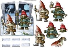 Frosty gnomes on a journey over the edge card with decoupage and sentiment tags