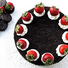 Chocolate+OREO+Cake+with+Fresh+Strawberries