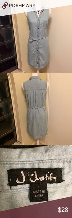 J is for Justify LIGHT BLUE Denim Dress This sleeveless dress features a small collar, chest pocket, and a belt to cinch the waist. It is in *Excellent Condition* and my iron broke so it is a little wrinkled. <necklace in separate listing> J is for Justify Dresses