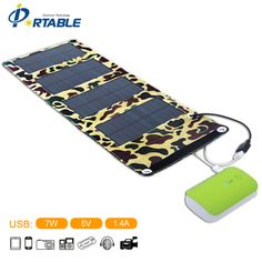 5.5V 7W Portable Folding Solar Panel Charger Battery USB Output Controller Pack for Phones PSP MP4 and any 5V USB devices