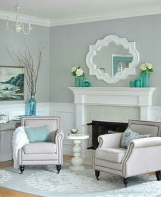 Benjamin Moore Tranquility   Saved For Potential Wall Color. Gray And White Living  Room ...